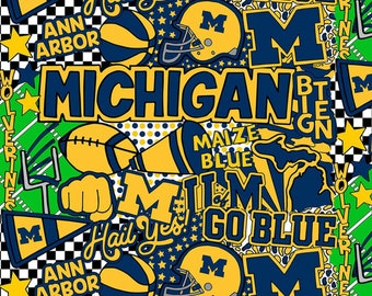 Michigan Wolverines Digitally Printed fabric by the yard and half yard and other various lengths