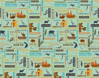 National Parks Word Print Sea Green by the yard and other various lengths