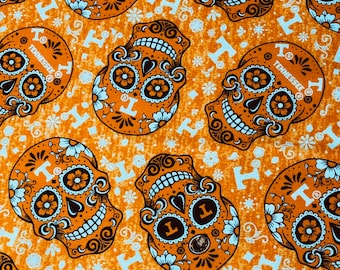 Tennessee Sugar Skulls Cotton Fabric by the yard and half yard and other various lengths