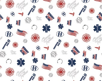 NOW IN STOCK! First Responders White Toss Fabric in various lengths