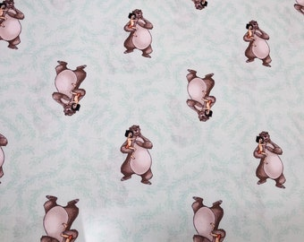 Disney Jungle Book Friends Green Fabric By The Yard and half yard and other various lengths