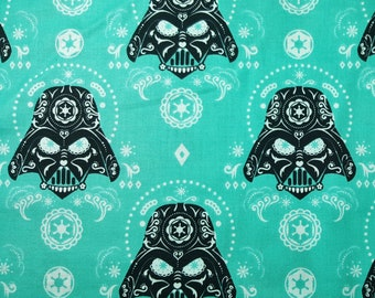 Darth Vader Sugar Skull Fabric in TEAL by the yard and half yard and other various lengths