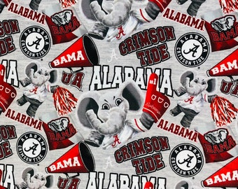 Alabama Crimson Tide 100% cotton fabric by the yard and half yard and other various lengths