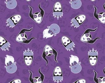 Disney Villain's Head's Tossed Purple Fabric By The Yard, Maleficent, Ursula, Cruella De Vil, The Evil Queen