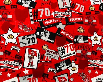 Ohio State University Cotton fabric by the yard and half yard and other various lengths