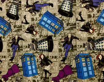 Doctor Who Various Characters Fabric by the yard and half yard and other various lengths