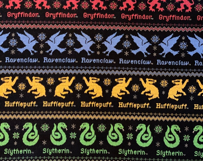 Featured listing image: Harry Potter House Christmas Fabric by various lengths