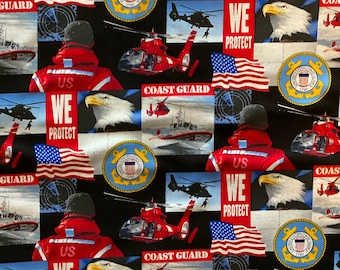 USA Coast Guard Fabric by the yard and other lengths