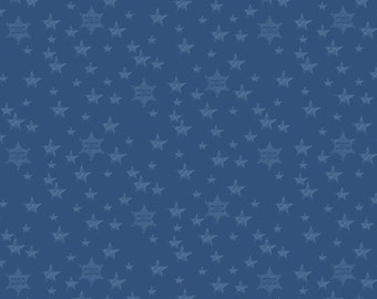 Sheriff Stars Blue Fabric by John Wayne by the yard and other various lengths