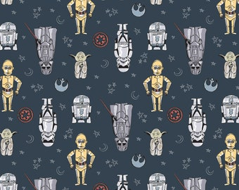 Star Wars Doodle Figures Blue Fabric by the yard and other lengths (Preorder/Arrival 7/1/20)