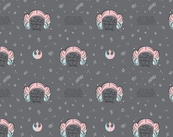 Star Wars Princess Leia Buns Grey The Future of the Galaxy is Female Fabric by the yard and other lengths (Preorder/Arrival 7/1/20)