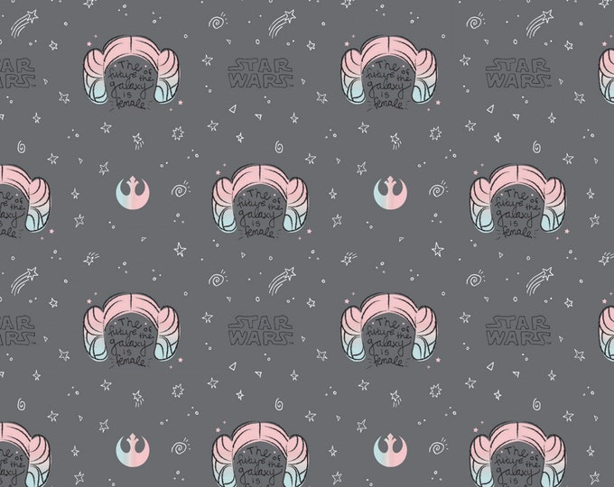 Featured listing image: Star Wars Princess Leia Buns Grey The Future of the Galaxy is Female Fabric by the yard and other lengths (Preorder/Arrival 7/1/20)