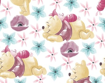Pooh Bear Flannel Fabric, Piglet Fabric, Disney Pooh Bear Fabric, Disney Piglet Fabric, Flannel Fabric by various lengths