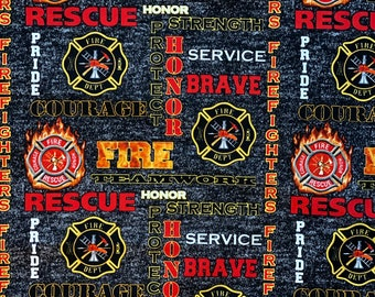 Fire Fighter Black Fabric by various lengths