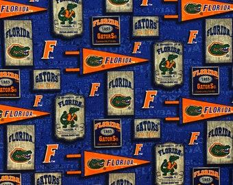 Florida Gators Vintage Pennants 100% cotton fabric in various lengths