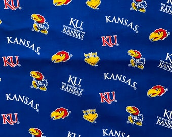 University of Kansas Blue 100% cotton fabric by various lengths