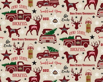 Ohio State Buckeyes Christmas fabric by various lengths