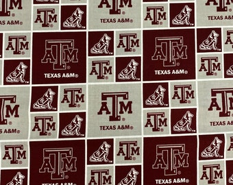 Texas A&M Logo 100% cotton fabric by the yard and half yard and other various lengths