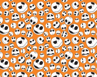 Nightmare Before Christmas Jack Faces Fabric by the yard and half yard and other various lengths