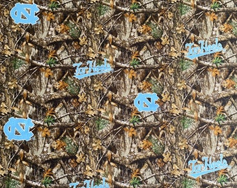 North Carolina Tar Heels Camo Print Cotton fabric by the yard and half yard and other various lengths