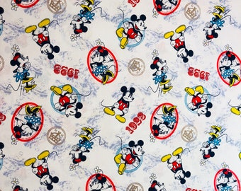 Disney Mickey & Minnie Ideal Couple Fabric by the yard and half yard and other various lengths