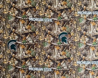 Michigan State Spartans Camo Print Cotton fabric by the yard and half yard and other various lengths