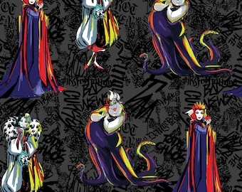 Villains Sketched Disney Fabric By The Yard and other various lengths, Maleficent, Ursula, Cruella De Vil, The Evil Queen