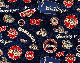 Gonzaga University Bulldogs Toss Cotton Fabric in various lengths