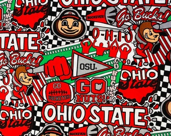 Ohio State Buckeyes Cotton Digitally Printed Fabric by the yard and half yard and other various lengths