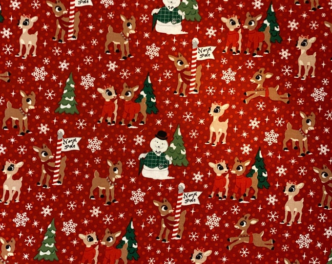 Featured listing image: Rudolf The Red Nose Reindeer and Frosty The Snow Man Christmas Fabric various lengths in your choice of red or blue fabric