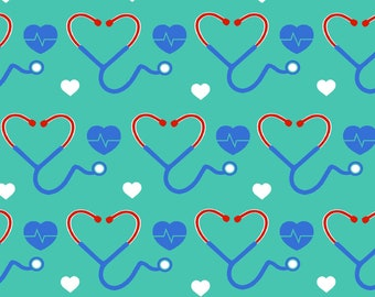 This Will Not Ship Until October 2020, Please Read Item Description On How To Order, Light Stethoscope Hearts Fabric in various lengths
