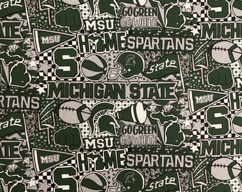Michigan State Spartans Team Spirit Printed fabric by the yard and half yard and other various lengths
