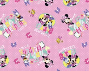 Disney Minnie Pink Happy Helpers on Call Fabric by the yard and half yard and other various lengths