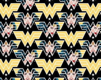 This Will Not Ship Until Jul/Aug 2020, Read Item Description On How To Order, Wonder Woman 1984 Face & Logo Black Fabric in various lengths