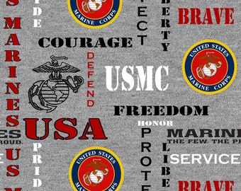 USMC Grey Fabric, USA Marines Grey Fabric by the yard and other lengths
