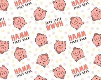 Toy Story Hamm Piggy Bank Fabric by the yard and half yard and other various lengths