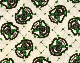 Harry Potter Fabric, Slytherin House Fabric, 100% Quilting Cotton, Camelot Fabrics, By the yard and other various lengths