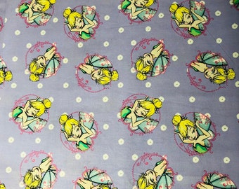 Disney's Tinker Bell Purple Fabric By The Yard, Half Yard and other various lengths