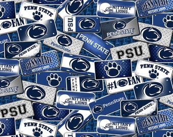 Penn State License Plate Blue fabric in various lengths