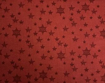 Sheriff Stars Red Fabric by John Wayne by the yard and other various lengths