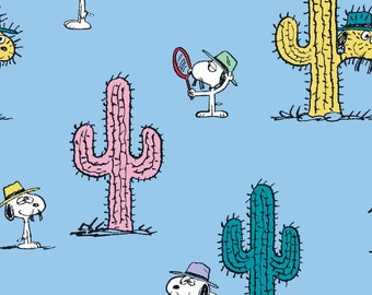 Snoopy and Cacti fabric by the yard half yards and other various lengths