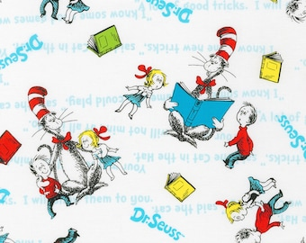 Dr. Seuss The Cat in the Hat White Fabric,  Robert Kaufman fabrics, 100% cotton fabric in various lengths options