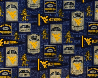 West Virginia University vintage pennants cotton fabric by various lengths