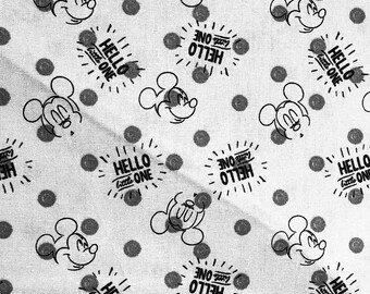 Disney Mickey Mouse Nursery Hellow Little One Fabric by the yard and half yard and other various lengths
