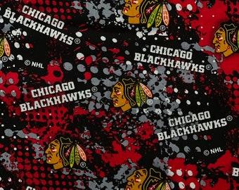 Chicago Blackhawks Fabric, Blackhawks Fabric, NHL Black Fabric in various lengths