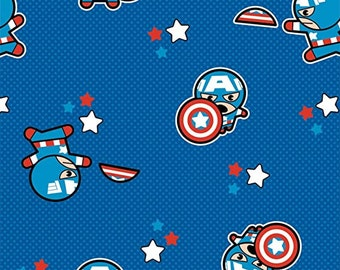 Captain America Mini Toss Blue Fabric in various lengths
