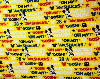Disney Mickey Mouse Aw Shucks Fabric by the yard and half yard and other various lengths
