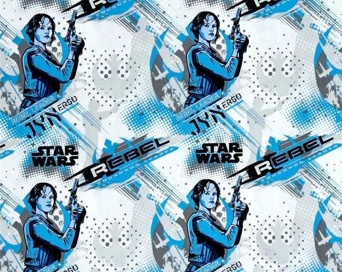 Featured listing image: Star Wars Story, Jyn Erso Blue  by Camelot Fabric 100% cotton fabric by the yard and other various lengths