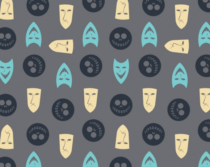 Featured listing image: NOW IN STOCK! Nightmare Before Christmas Faces Grey Fabric by various lengths