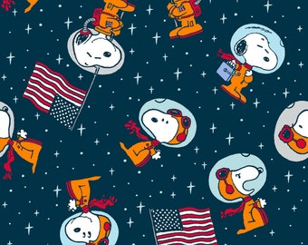 Peanuts Snoopy Space fabric by the yard half yards and other various lengths